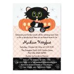 Halloween Black Cat Pink Diaper Pin Baby Shower 5x7 Paper Invitation Card