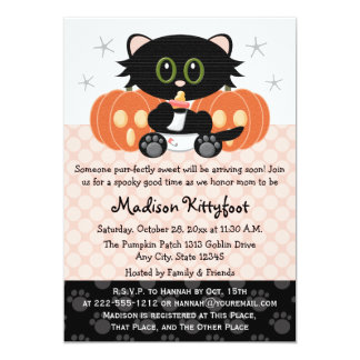 Halloween Black Cat Pink Diaper Pin Baby Shower 5x7 Paper Invitation Card