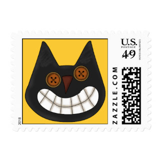 Halloween Black Cat Postage Stamps