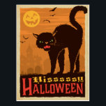 "Halloween Black Cat Postcard<br><div class=""desc"">Anderson Design Group is an award-winning illustration and design firm in Nashville,  Tennessee. Founder Joel Anderson directs a team of talented artists to create original poster art that looks like classic vintage advertising prints from the 1920s to the 1960s.</div>"
