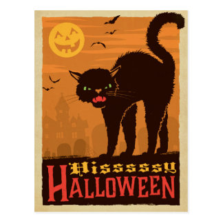 Halloween Black Cat Postcard