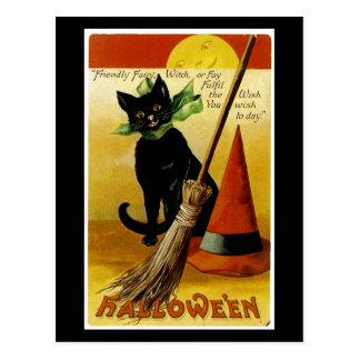 Halloween Black Cat Post Card