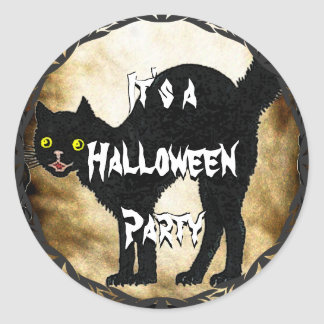 HALLOWEEN Black Cat Printed Faux Burnt Parchment Classic Round Sticker