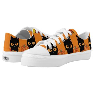 Halloween Black Cat/Pumpkins Low Top Shoes