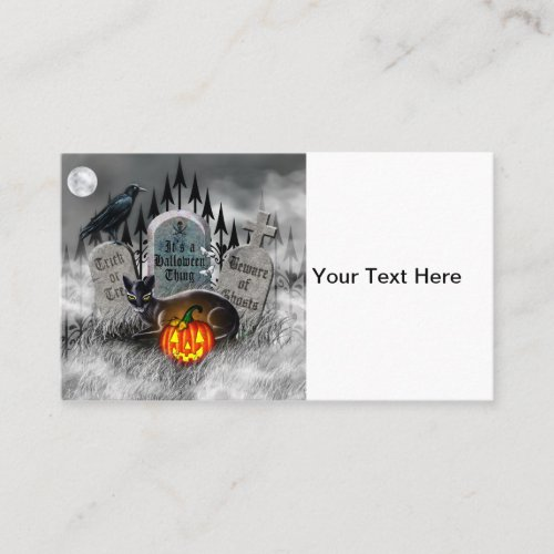 Halloween Black Cat Raven and Jack_o_Lantern Loyalty Card
