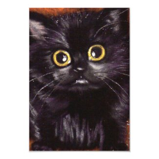 Halloween Black Cat Scaredy Cat Invitations