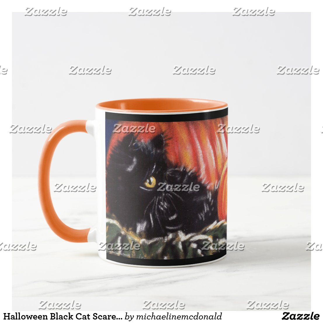 Halloween Black Cat Scaredy Cat Mug