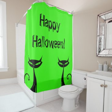 Halloween Themed Halloween Black Cat Shower Curtain