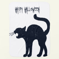 Halloween Black Cat Silhouette Baby Blanket