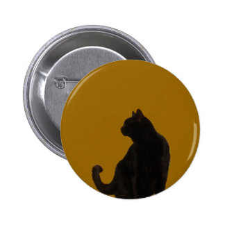 Halloween Black Cat Silhouette Button