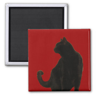 Halloween Black Cat Silhouette Magnet