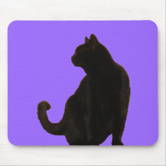 Halloween Black Cat Silhouette Mouse Pad