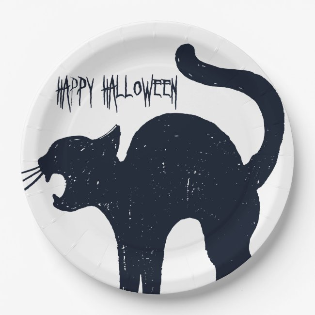 Halloween Black Cat Silhouette Paper Plate