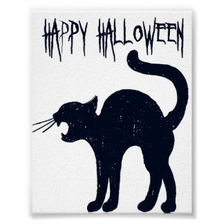 halloween black cat silhouette poster - Black Cat Silhouette Halloween
