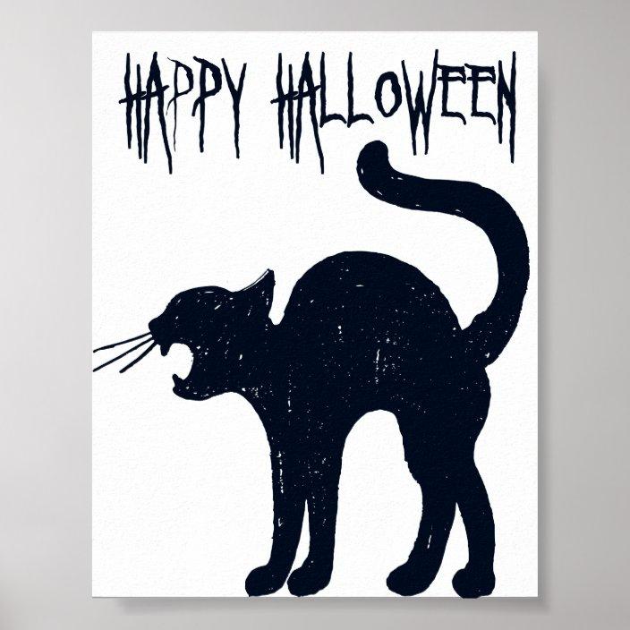 Halloween Black Cat Silhouette Poster Zazzle Com