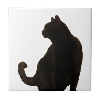 Halloween Black Cat Silhouette Tiles
