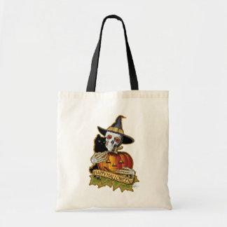 Halloween Black Cat, Skull and Pumpkin Tote Bag