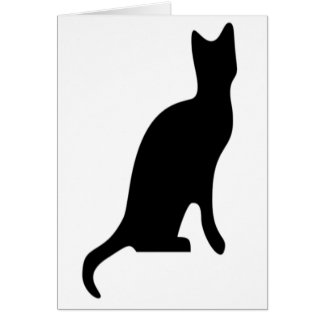 Halloween Black Cat Smooth Silhouette Card