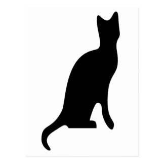 Halloween Black Cat Smooth Silhouette Postcard