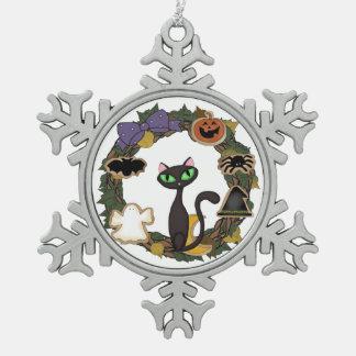 Halloween Black Cat Snowflake Pewter Christmas Ornament