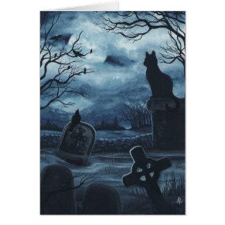 Halloween Black Cat Society Raven Blank Notecard