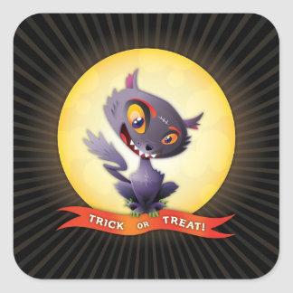Halloween Black Cat Square Sticker