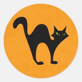 Halloween black cat round stickers