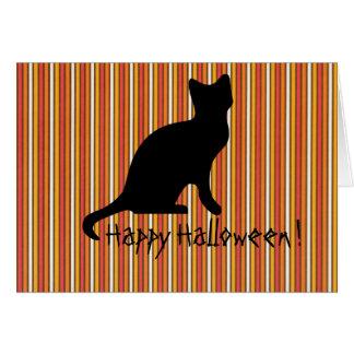 Halloween Black cat stripes Card