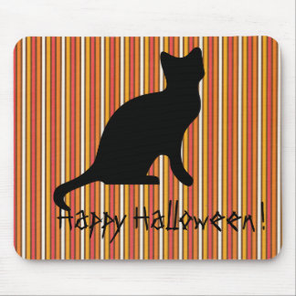 Halloween Black cat Stripes Mouse Pad
