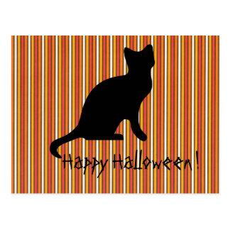 Halloween Black cat Stripes Postcard