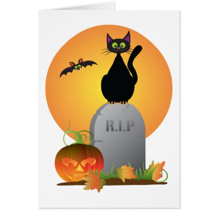 Halloween Black Cat Stting on Tombstone Card