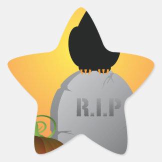 Halloween Black Cat Stting on Tombstone Star Sticker