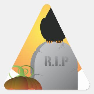 Halloween Black Cat Stting on Tombstone Triangle Sticker