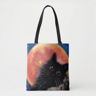 Halloween Black Cat Trick-Or-Treat Bag Muggin Moon