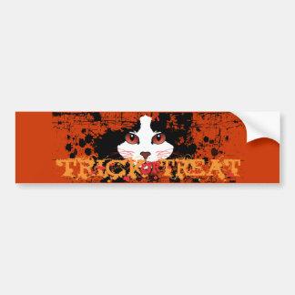 Halloween Black Cat Trick Or Treat Bumper Sticker