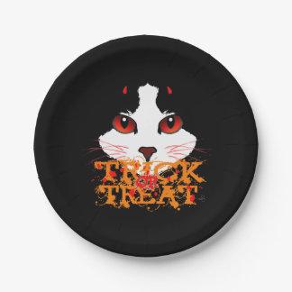Halloween Black Cat Trick Or Treat Paper Plate