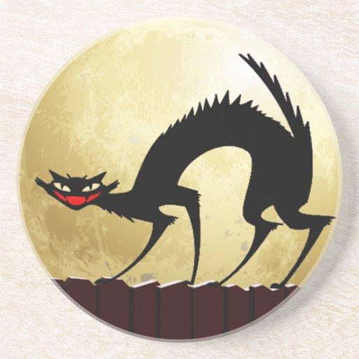 Halloween Black Cat w/Full Moon Beverage Coaster