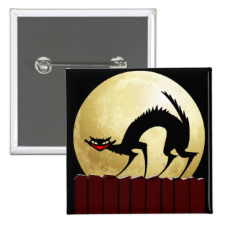 Halloween Black Cat w/Full Moon Pinback Button