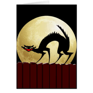 Halloween Black Cat w Full Moon Greeting Card
