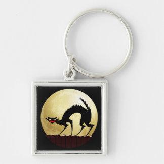 Halloween Black Cat w/Full Moon Key Chains
