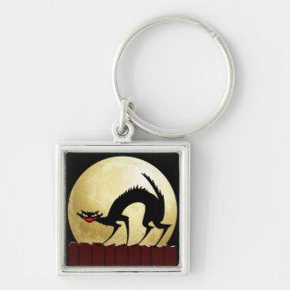 Halloween Black Cat w/Full Moon Keychain