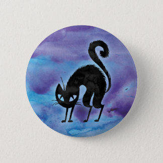 Halloween Black Cat Watercolor Pinback Button