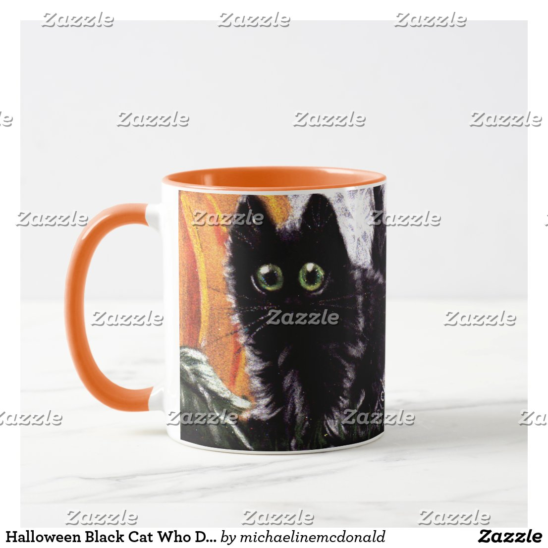 Halloween Black Cat Who Dat Scaredy Cat Mug