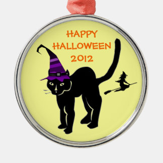 Halloween Black Cat Witch Flying Custom Any Year Christmas Ornaments