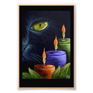 "HALLOWEEN BLACK CAT with CANDLES 4"" X 6"" PRINT"