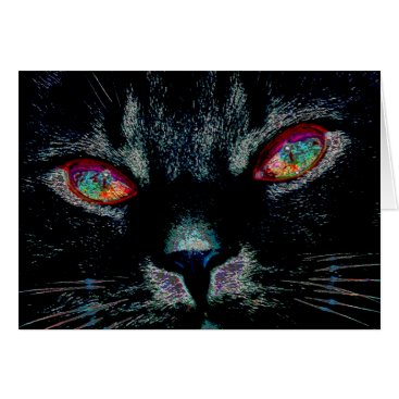 Halloween Themed Halloween Black Cat with Fire Eyes Card