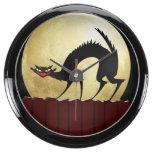 Halloween Black Cat with Full Moon Aquarium Clock