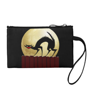 Halloween Black Cat with Full Moon Coin Wallet