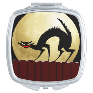 Halloween Black Cat with Full Moon Compact Mirrors