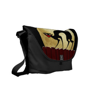 Halloween Black Cat with Full Moon Courier Bag